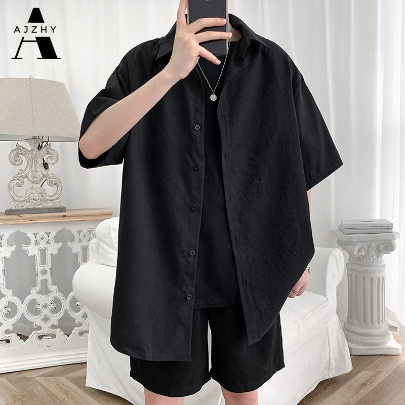 Уличная одежда рубашка мужчины твердые хлопок плюс размер рубашки с коротким рукавом свободно летняя мода повседневная корейская рубашка мужские вершины одежда 210305