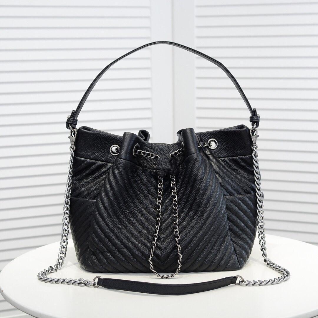 Роскошный дизайн Натуральная кожа зигзаг женская сумка для женского ведра плиссированная перфорированная тотальная досуг Европа и пакет леди Стиль Соединенных Штатов