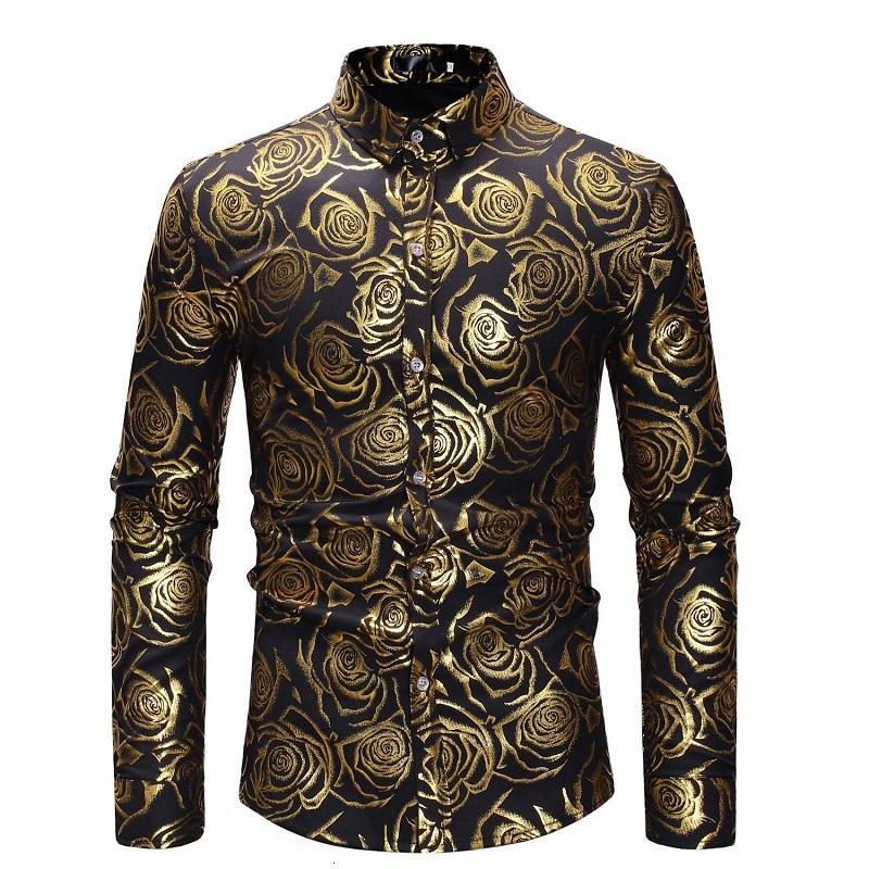 Роскошный рукав цветочные длинные рубашки для мужчин рубашки мужские моды топы высокого качества золотой цвет