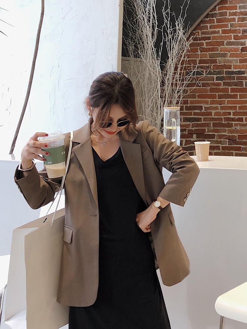 Trajes de mujer Blazers 2021 Primavera y otoño Café Color Blazer Versión coreana Mid Long Chic Casual Versátil One Button Steet Abrigo