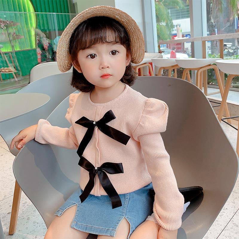 2021 Baby Mädchen Süße Bogen Hauch Ärmelt Strickpullover Frühling Herbst Kleidung Mädchen Kinder Prinzessin Tops Pullover Kinder 2-8AGE
