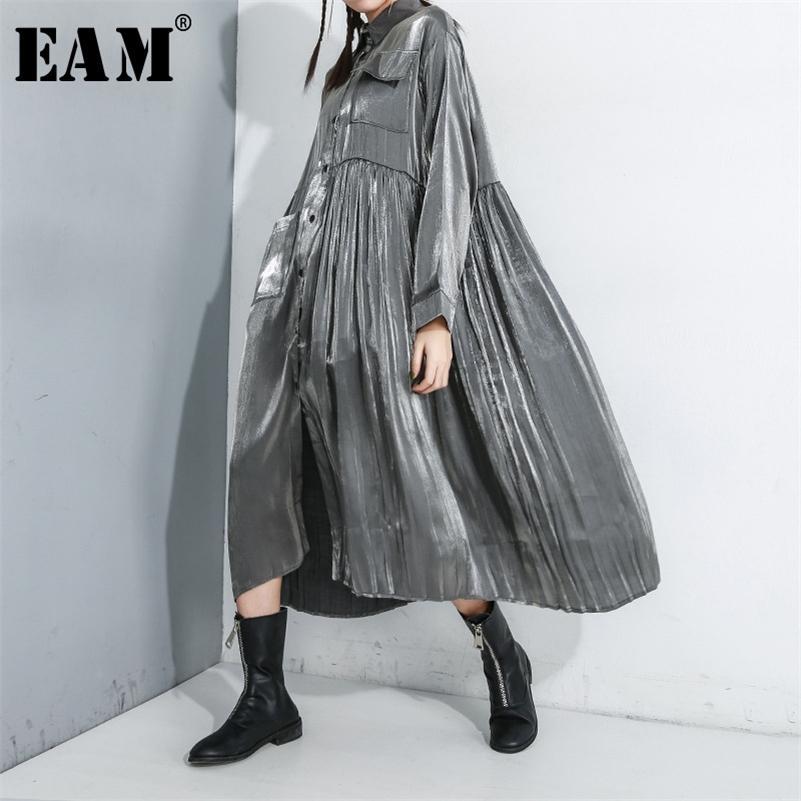 [EAM] Женщины черные плиссированные сплит платье большого размера Новый отворот с длинным рукавом свободный подходящий модный прилив весна осень 1R169 210309