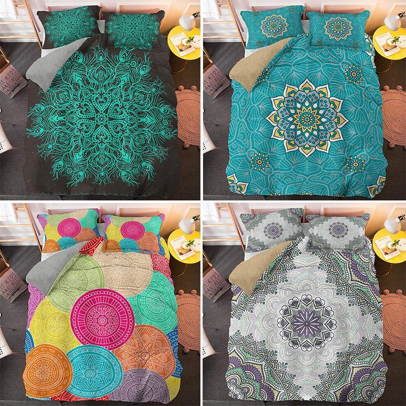 Colorful Mandala King Queen Size Bedding Sets 2/3pcs Single Twin Quilt Duvet Cover Set Home Textile CN(Origin)
