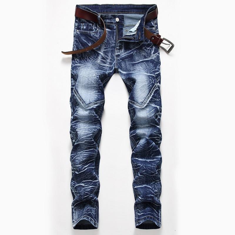 Новый мужской мужчина промытые белые джинсы снежинки синий тонкий молодежный осенний автомат модель модные брюки брюки UAB5