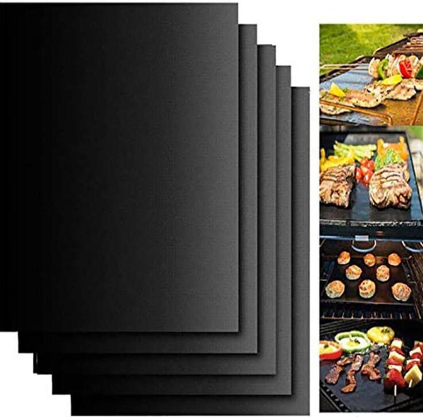 BBQ-Grillmatte tragbarer Antihaft und wiederverwendbar machen grillen leicht 13 * 15.75 Zinch / 33 * 40 cm Black Ofen Hotplate Mats Barbecue-Werkzeug GGA3854