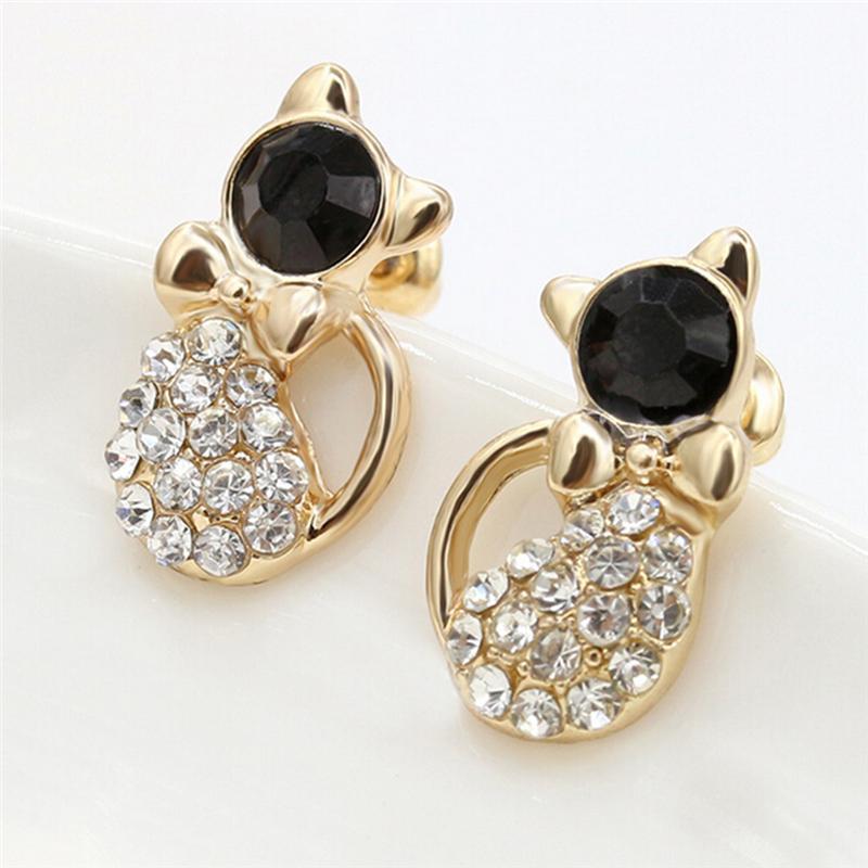 Fashion Ear Stud Pendientes para mujeres Lady Elegante Cristal Rhinestone Joyas Regalo Brinco Pequeno
