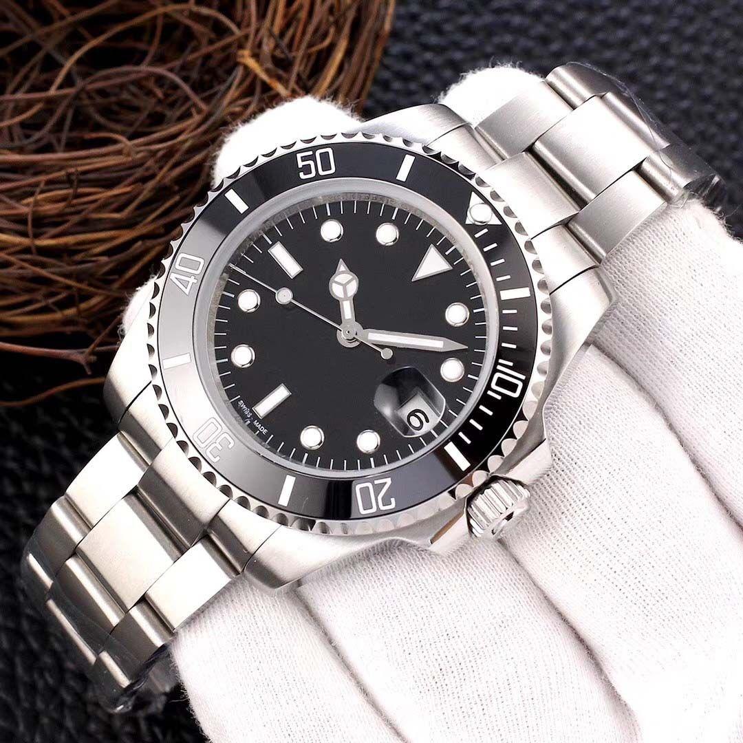 40 мм мужские качественные часы Классический дизайн мужчины Женщины Женщины Нержавеющая сталь Часы автоматическое движение GLID Sweep Move Керамические Бешевые Мечнические Часы