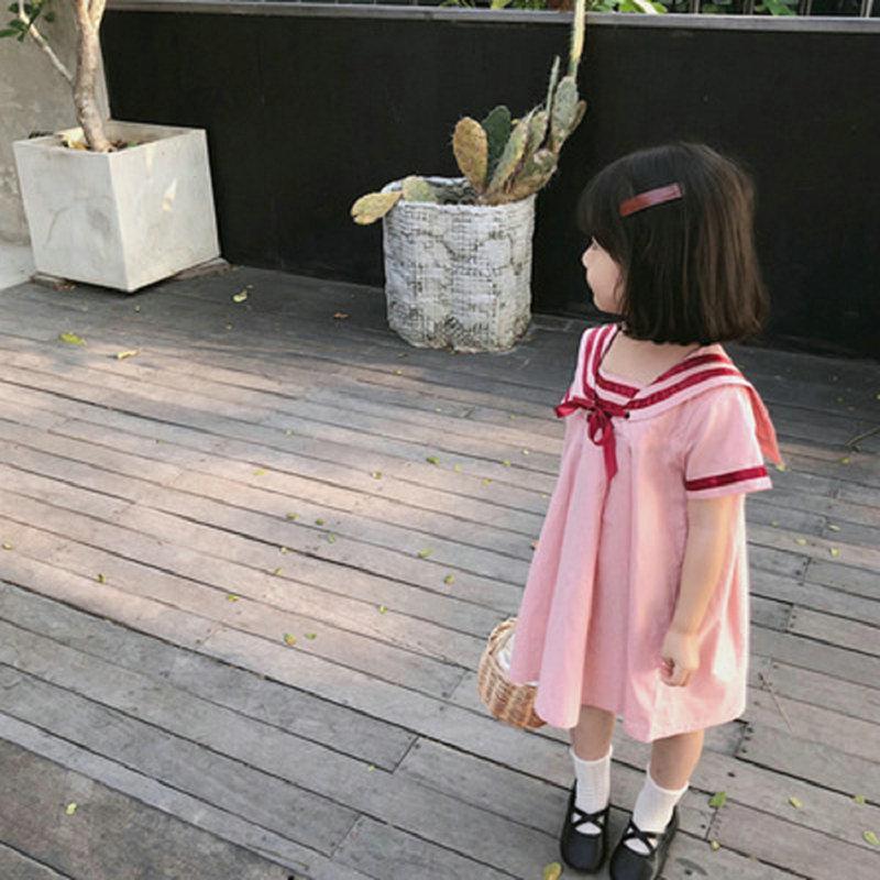 فتاة اللباس الاطفال ملابس الطفل 2022 الوردي الربيع الصيف طفل أبلى مدرسة شاطئ حزب موحد فساتين القطن الأطفال الملابس