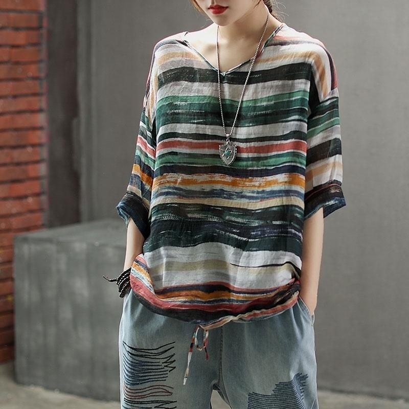 FJE Yeni Yaz Kadın T Gömlek Artı Boyutu Yarım Kollu Gevşek V Yaka Vintage Çizgili Dalga Baskı Keten Tops Tee Gömlek 210311