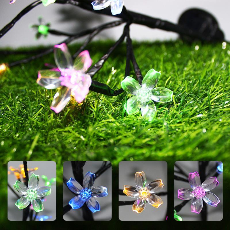 Outdoor Wall Lamps Solar Power Cherry Blossom Flower Garland Led String Fairy Lights Crystal Flowers Yard Decorative Lamp Wedding Decoration