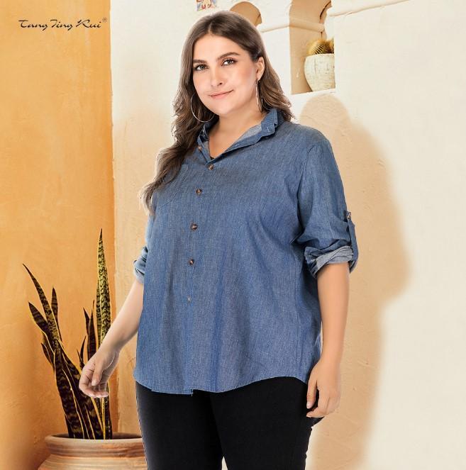 Women's Plus size Jacket Loose casual Fashion Long-Sleeved Women's Shirt Denim Jacket 2021 Spring New Product