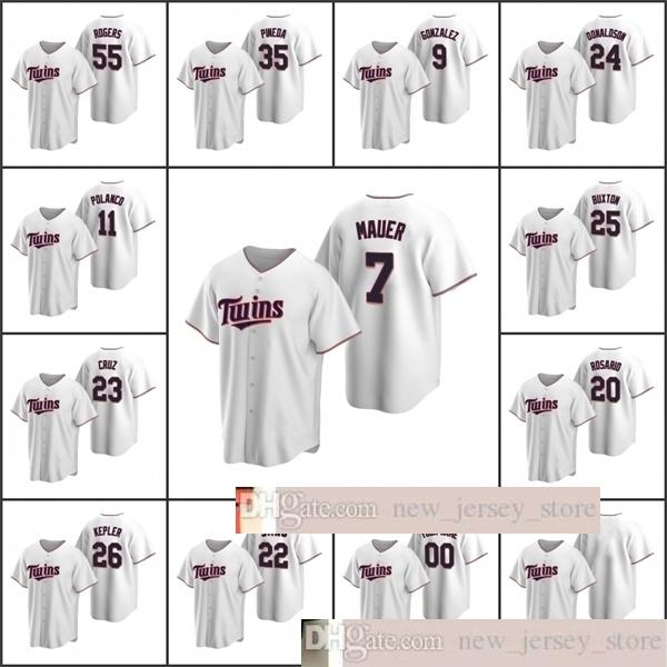 2020 hombres de béisbol # 22 Miguel Sano 26 Max Kepler 23 Nelson Cruz 55 Taylor Rogers Pineda Mauer Custom Women Youth White Home Jersey