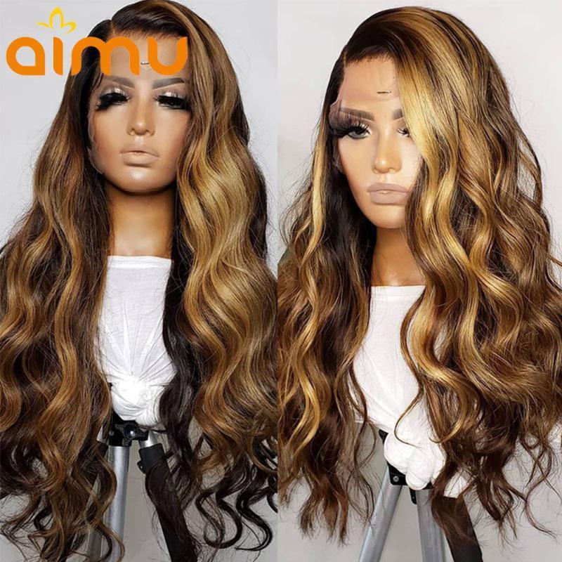 레이스 가발 옴브 꿀 금발 금발 하이라이트 인간의 머리카락 정면 250 HD 느슨한 바디 웨이브 깊은 613 여성용 프리 뽑기
