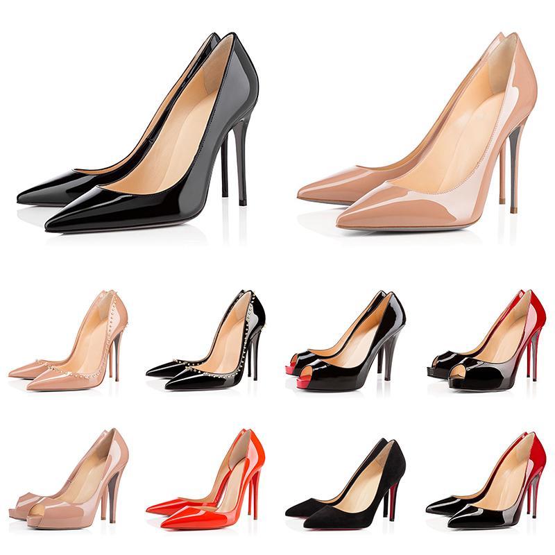 Red Bottoms Heels Scarpe da donna di design di lusso con tacco alto rosso 8cm 10cm 12cm Scarpe eleganti con punta a punta in pelle nera e bianca