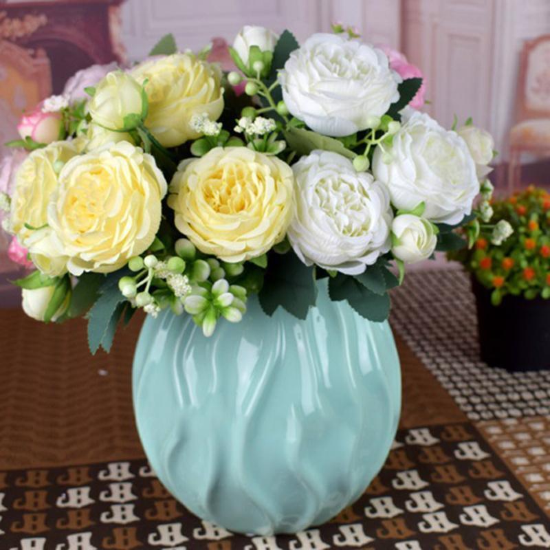 Декоративные цветы венки белые розы искусственные шелковые пионы свадебные вазы для домашнего декора букет невесты пеноподобные подарки поддельных растений