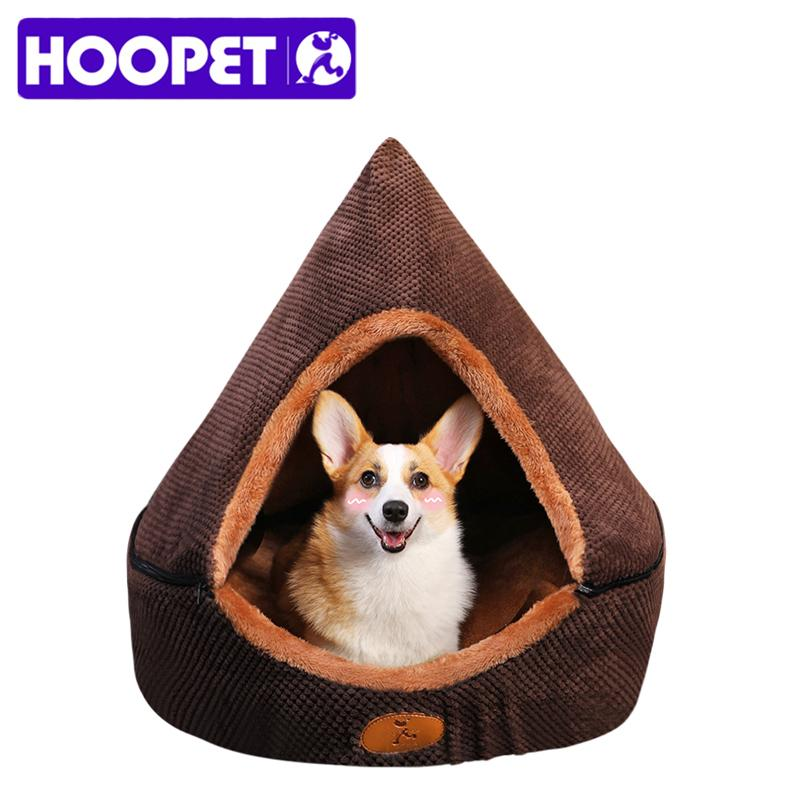 Hoopet Pet Dog Cama Cat Barrante Casa de Cão All Seasons Cama para Cães Soft-Resistant Soft Yurt Cama com dupla face almofada lavável 210224