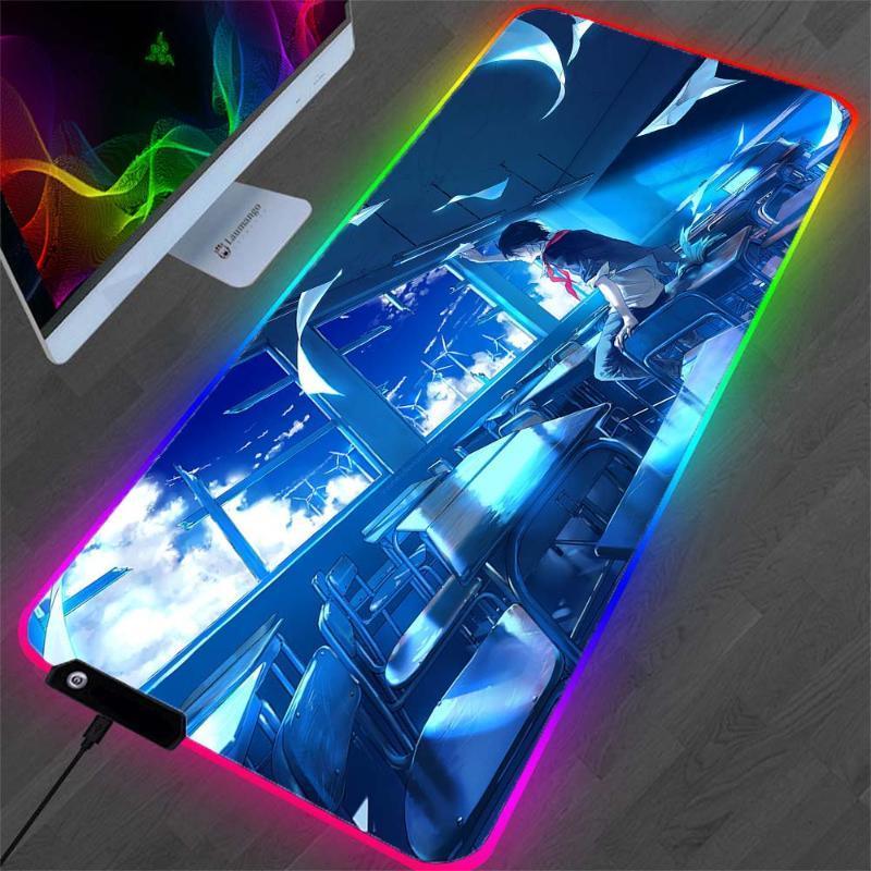 Pads de souris Poigne-poignets RVB Blue Blue Pad XL Protection de bureau de bureau Matériau en caoutchouc de cahier LED rougeoyant Mini Mousepad