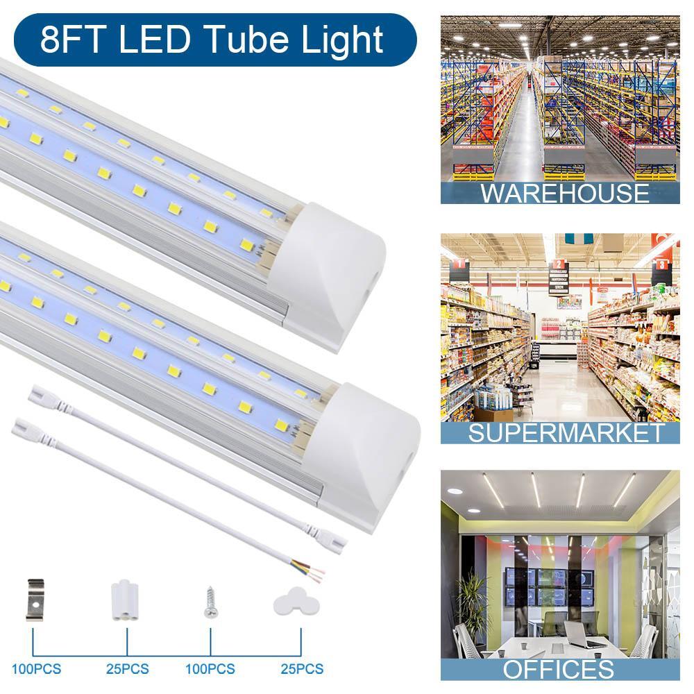 LED 튜브 라이트, 상점 조명, 8ft 100W 10000lm, 6500K 멋진 화이트 V 모양 클리어 커버, 차고, 창고 용 Hight 출력