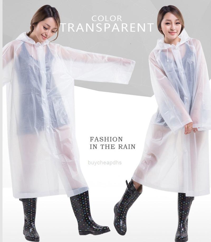 Camping al aire libre impermeable lluvia de lluvia transparente con capucha engrosada abrigo verano lluvia ponchos eva viaje impermeable 9 xhj49h catbn