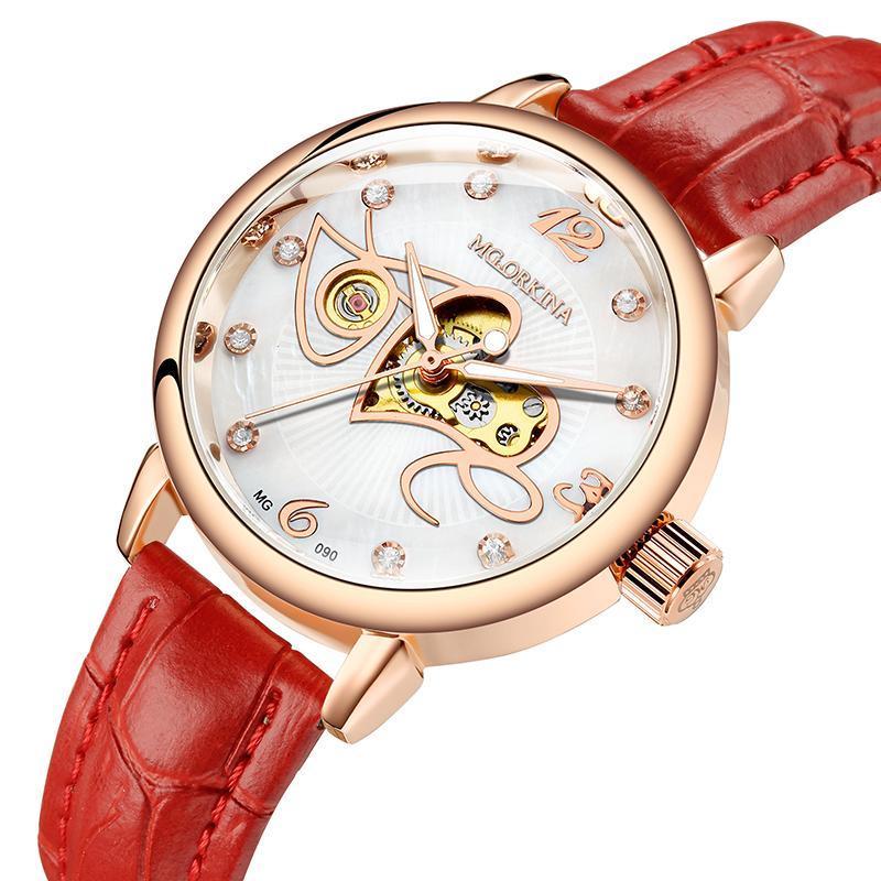 Relogio Feminino Automatische mechanische Uhr Frauen Mode Strass Liebe Hohl Design Uhr Rotes Lederband Wasserdichte Uhr