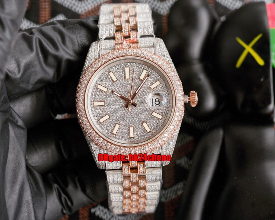 5 estilos Relojes de lujo 126300 41mm Iced Out Full Diamond ETA2824 Mens Reloj automático para hombre Pavé Diamonds Dial árabe Oro rosa Pulsera de dos tonos Gents Relojes de pulsera