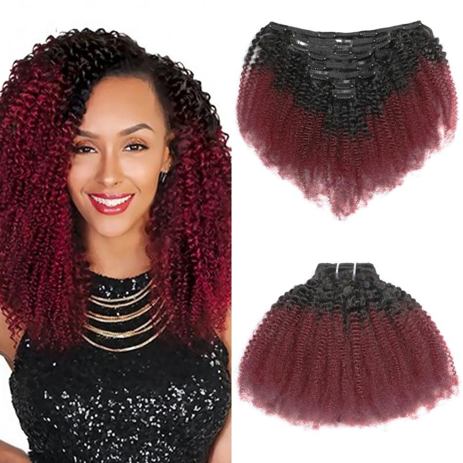 Malaysian Afro Kinky Curly Clip In Human Hair Extensions T1B/99J 8 Pieces/Set Remy Full Head Clips ins 120G for Black Women