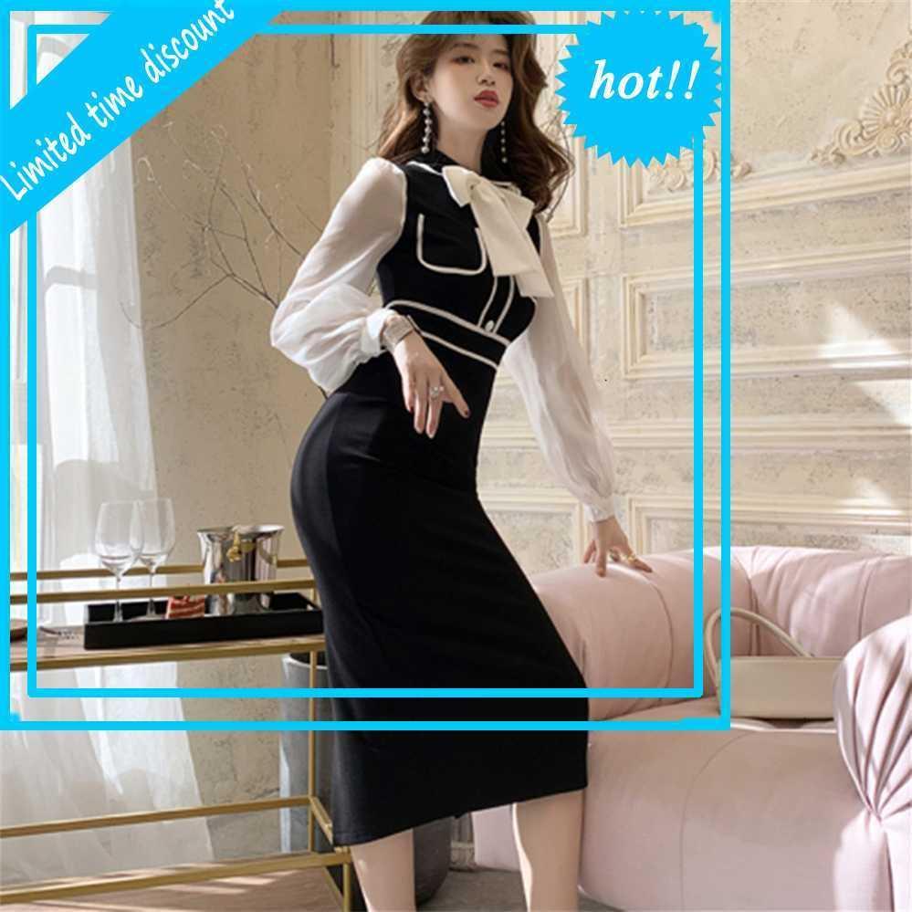 2020 Vintage Bow Solid Color Office Damen Mantel montiert Bodycon Elegante Bleistiftkleid