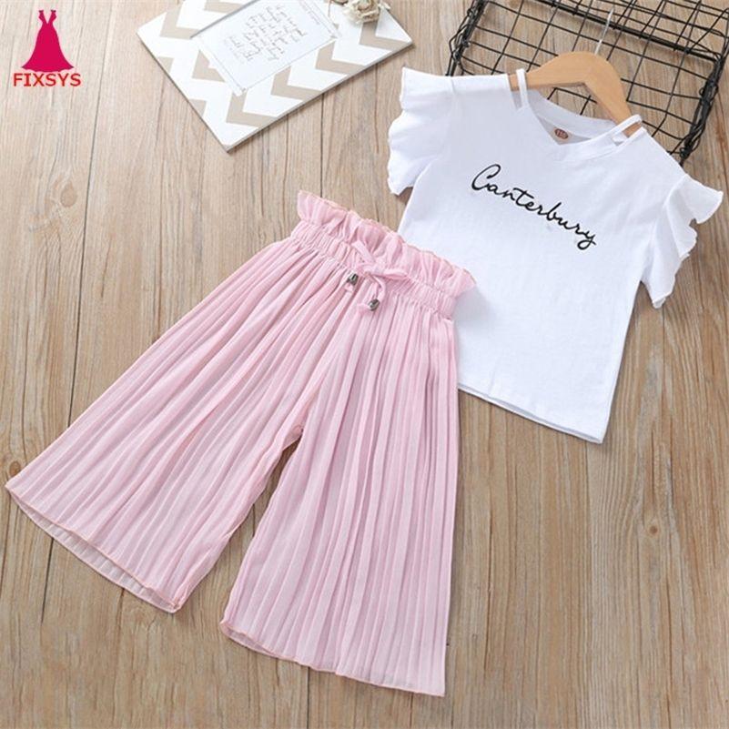 Yaz Kız Giyim Setleri Çocuklar T-shirt + Geniş Bacak Pantolon Suits Çocuk Kısa Kollu Bebek Kız Giysileri 5 6 7 8 9 10 12 Yıl 210316