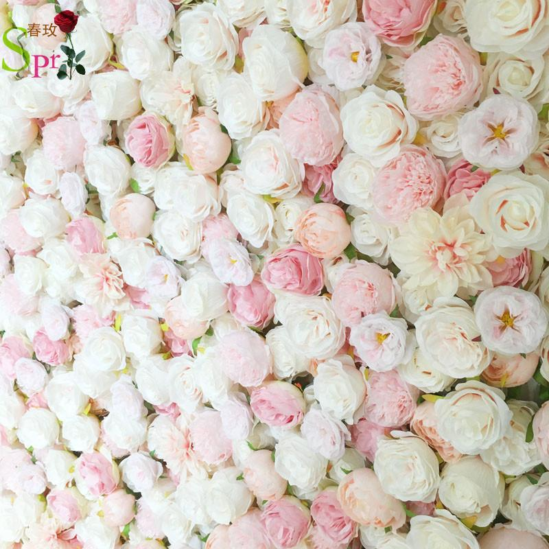Dekoratif Çiçekler Çelenkler SPR 4FT * 8FT Allık Pembe Düğün Gül Roll Up Çiçek Duvar Backdrop Yapay Masa Merkezi Aranjmanı
