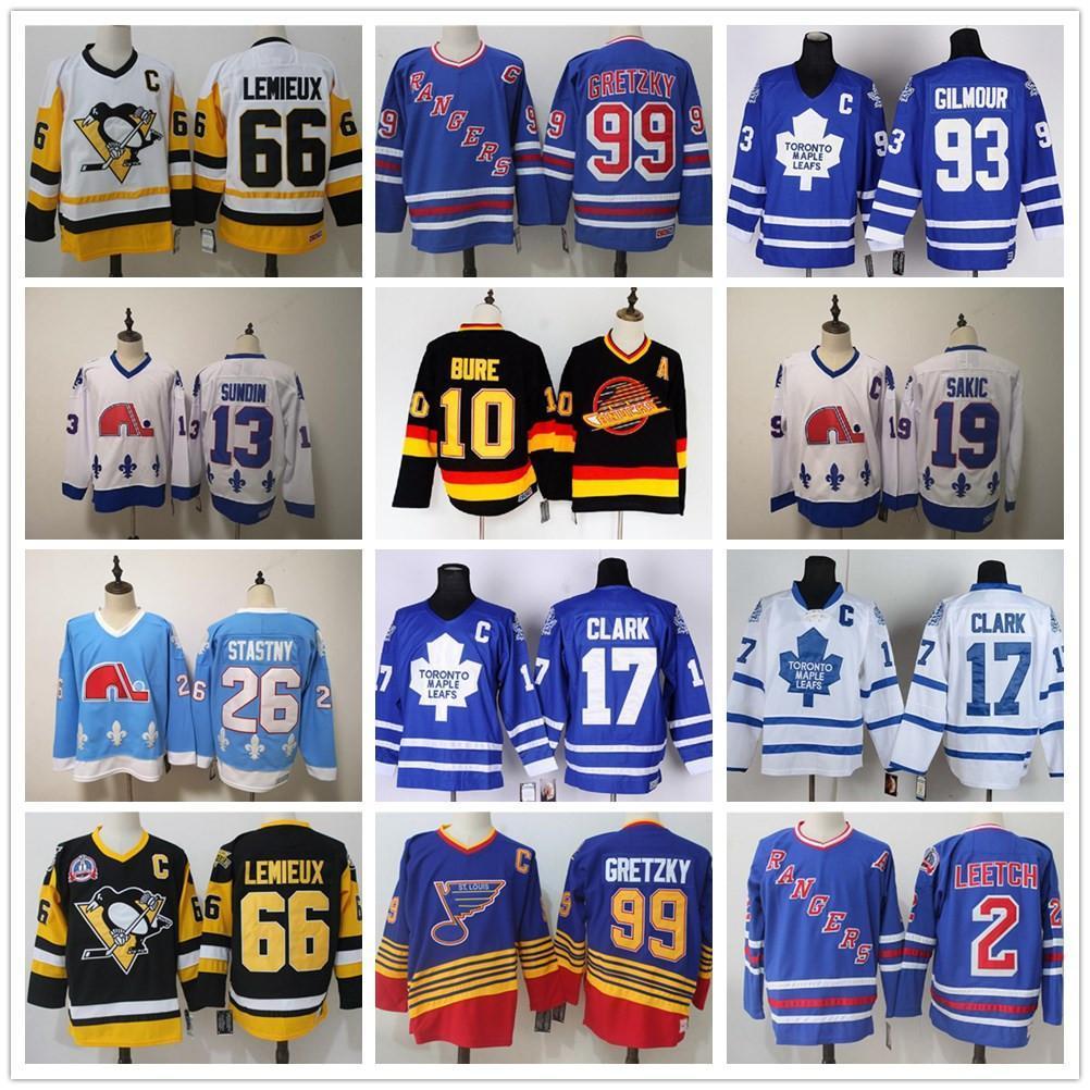 파벨 빈티지 조 Sakic Doug Gilmour Wendel Bure 매트 Sundin Peter Stastny Toronto Maple Quebec Nordiques 레트로 하키 유니폼
