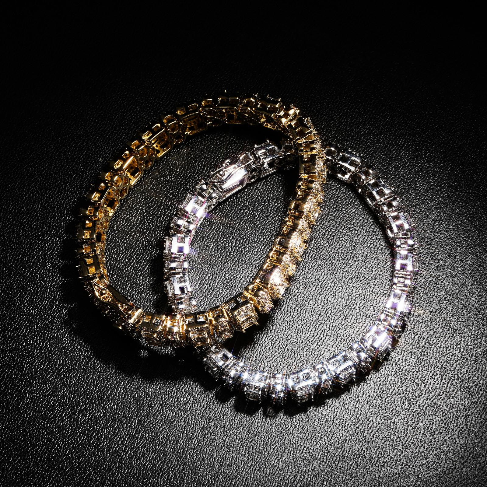 New Charm Hip Hop 10mm Doble fila Zircon Round Square Buttonhead Iced Out Personality Gold Bareles Bangle Pulsera B1205
