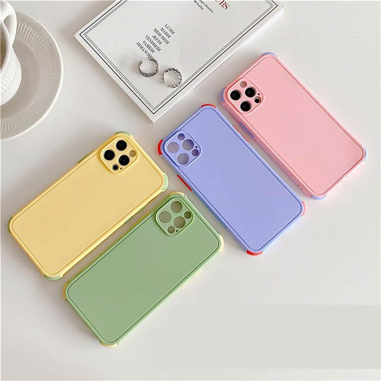 Custodia protettiva per cellulari a colori puri cellatura glassata Custodia per cellule per iPhone 12 11 Pro Max XS XR 8 7 Plus