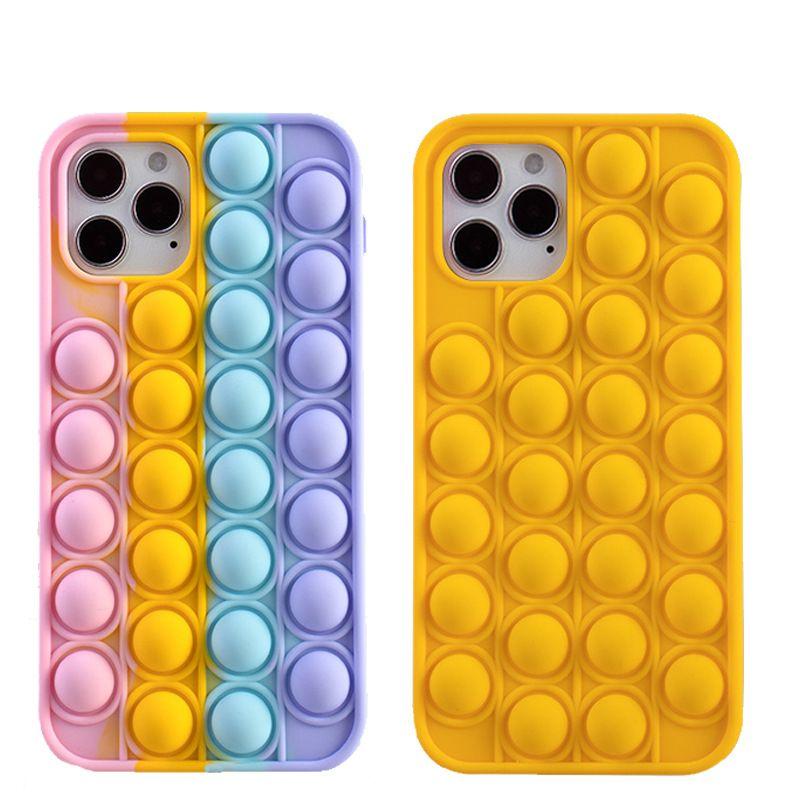 2021 Fashion Pop It Push Bubble Phone Cases For iphone 12 Mini 11 Pro Max X XS XR SE2 8 Plus Relive Stress Relief Fidget Toy Soft Silicone Case