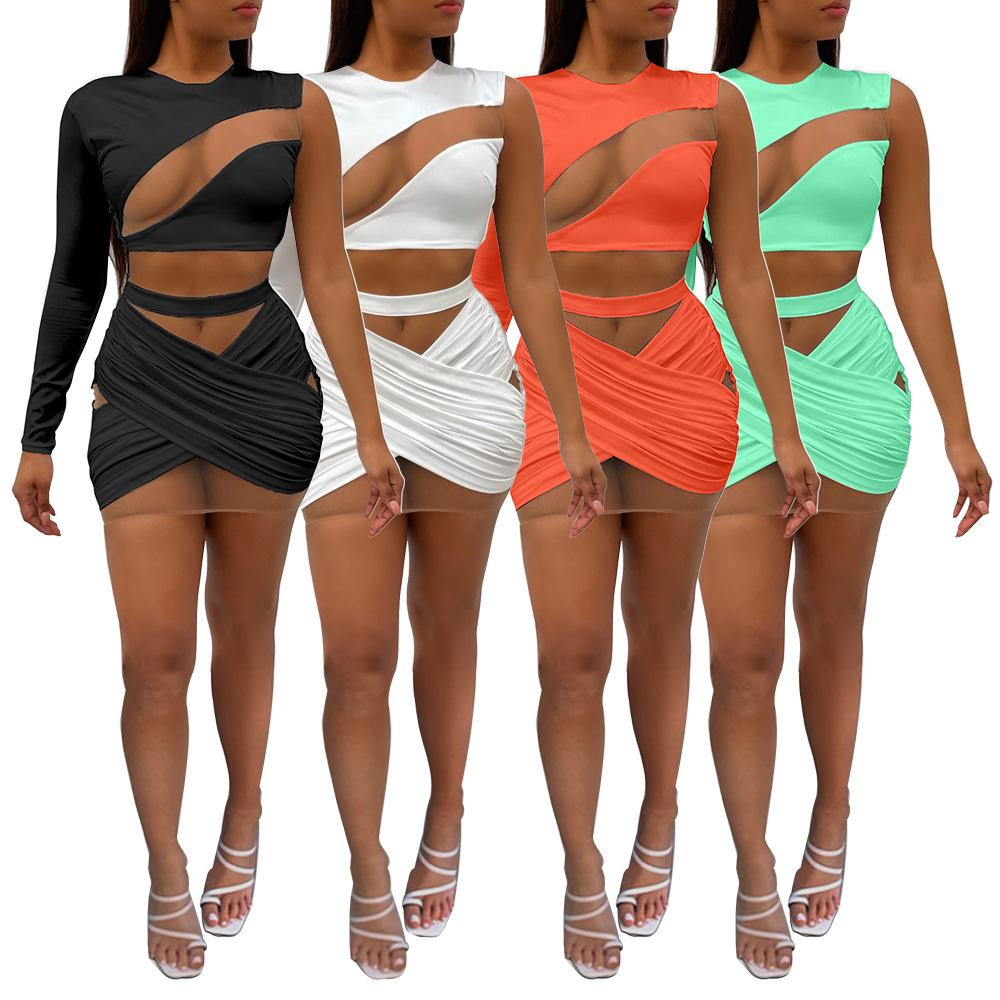Women's Two Piece Sets Summer pants set Tops + Shorts vest tshirt Sleeveless Crew Neck Fashion Casual Mesh stitching single shoulder sexy