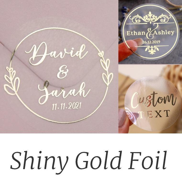 Andere Event Partei liefert Hochzeitsaufkleber, echte Folie glänzend Gold benutzerdefinierte Logo, Etiketten, personalisiert, Taufe, Geburtstag, klar, 100 Stück