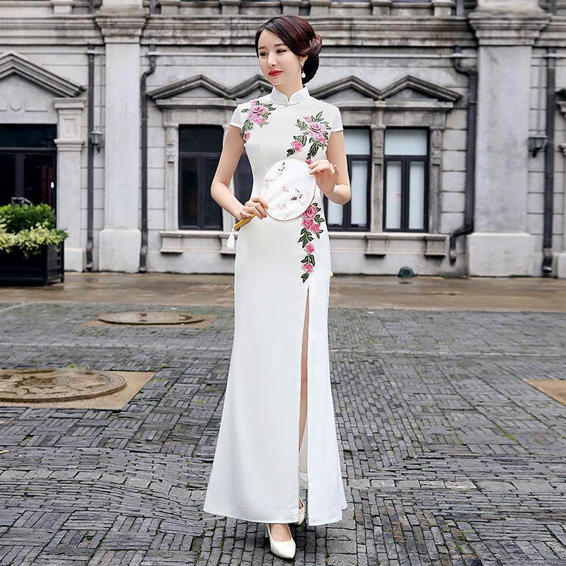 Ethnic Clothing Sexy Bride Wedding Floral Qipao Female Sheath Cheongsam Mandarin Collar Chinese Party Prom Dress Satin Vintage Oversize Vest