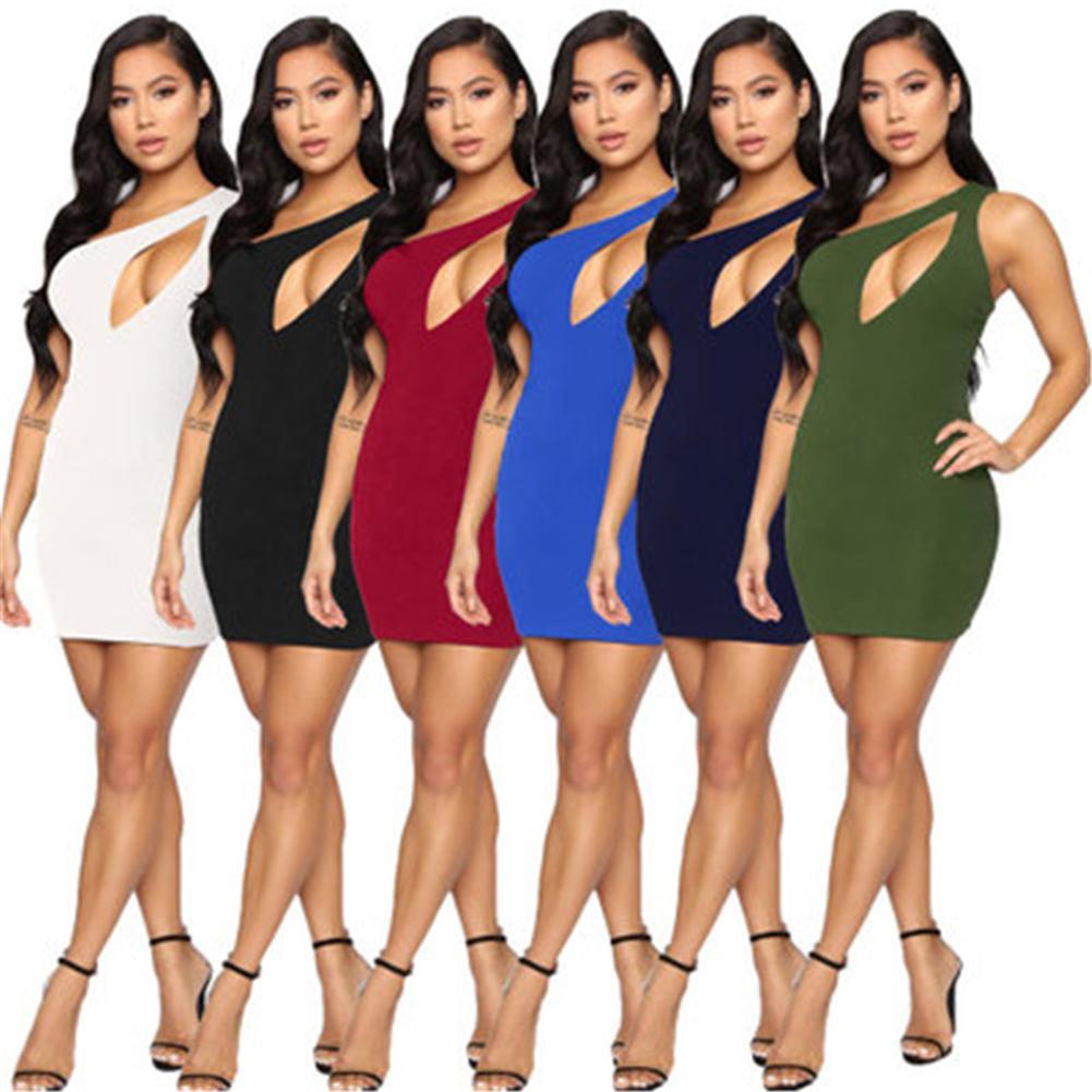 Женские повседневные платья сексуальные наклонные наклонные ночные клубы мини-платья мода летняя стройная проколотая повязка повязки бедра юбка клуб плюс размер женской одежды S-XL