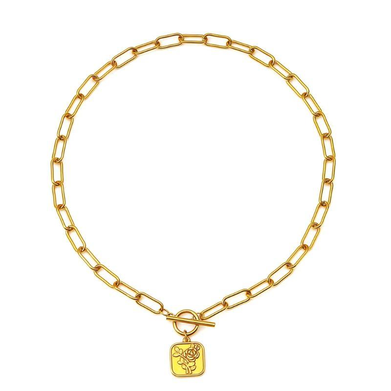 Collares colgantes Geo Floral Medallón Collar de acero inoxidable Toggle para mujer Titanium18k Metal de oro Rose Flor Kette Collar