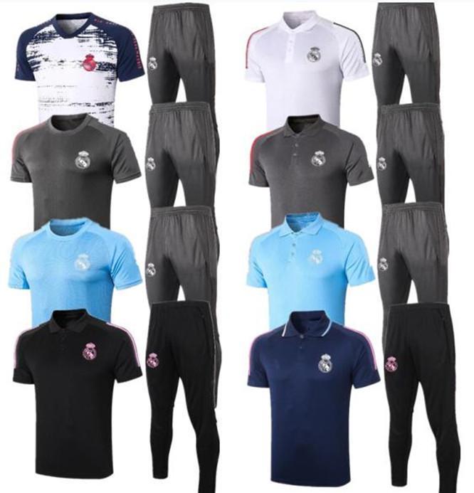 2020 Polo Soccer Jersey 2021 Real Madrid Hazard Benzema F.Mendy Black Kurzarm Trainingsanzug Modric Football Polo Hosen Fußball Uniform Set
