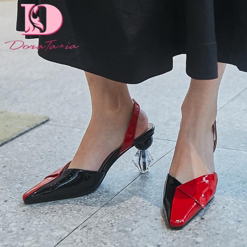 Сандалии Доратазия мода леди натуральная кожа заостренный носок смешанные цвета задний ремешок женский офис лаконичная обувь женщина
