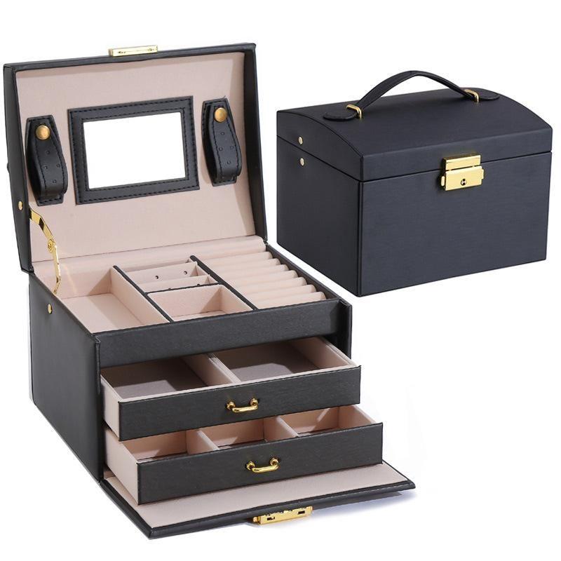3 слоя ювелирные изделия Организатор Box Большая емкость Держатель Держатель Серьезное кольцо Браслет Чехол для женщин Двойной ящик