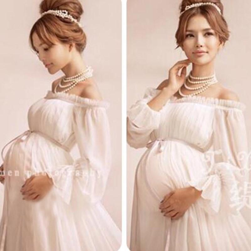 New Royal Style White Maternity Lace Dress Pregnant Photography Props Pregnancy maternity photo shoot long dress Nightdress