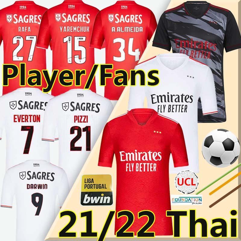 21/22 Fans Player Version Soccer Jerseys PIZZI RAFA SEFEROVIC WALDSCHMIDT DARWIN Camisola de futebol JOAO FELIX VINICIUS men kids kit 2021 2022 football shirt