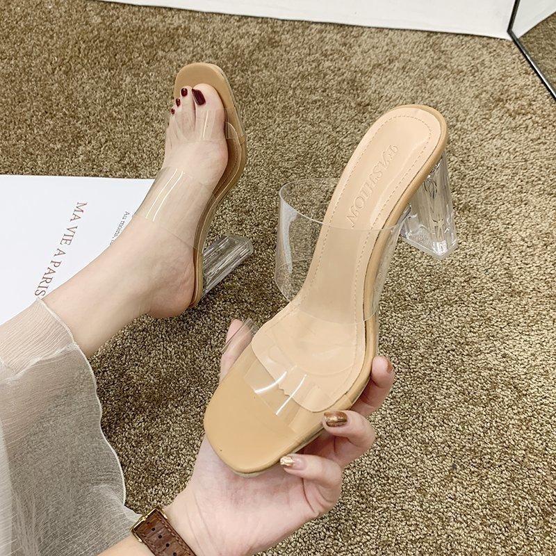 Мода PVC Женщины Сандалии Летние Открытые Новые Насосные каблуки Прозрачные Тапочки Партии Обувь Насосы Zapatillas Mujer Casa A169