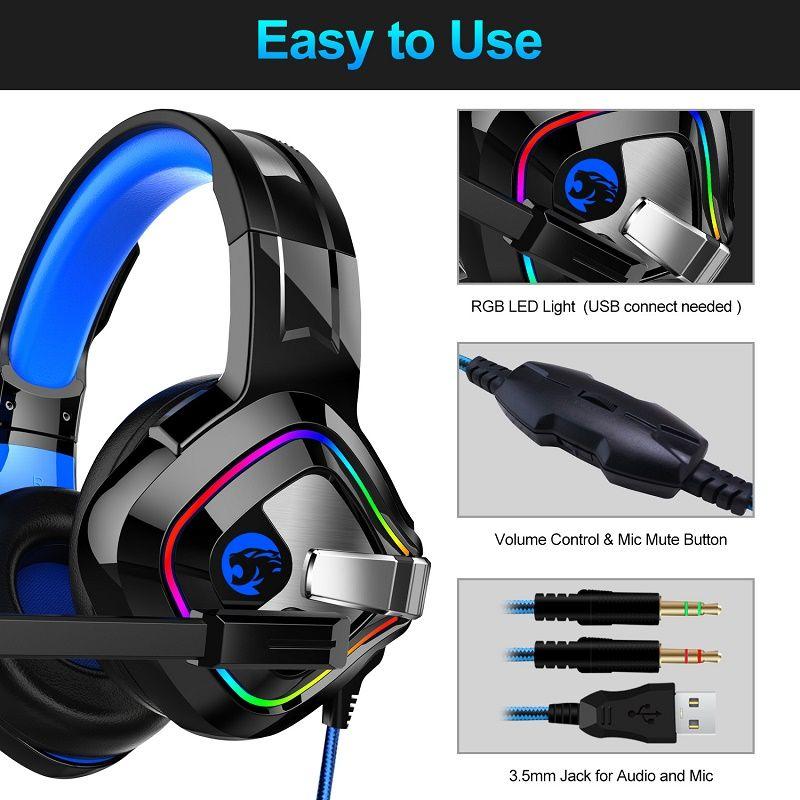 الألعاب السلكية سماعات مع ميكروفون للكمبيوتر / Xbox One PS4 / 5 تحكم إلغاء الضوضاء سماعة مصباح يدوي Bass Games Laptop