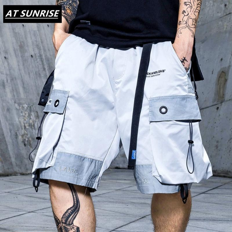 Herren Shorts 2021Stwardbekleidung Cargo Hip Hop Kurze Harajuku Männer Tasche Baumwolle Jogger Joggyhospant Casual Black Grau Reflektierende Artikel