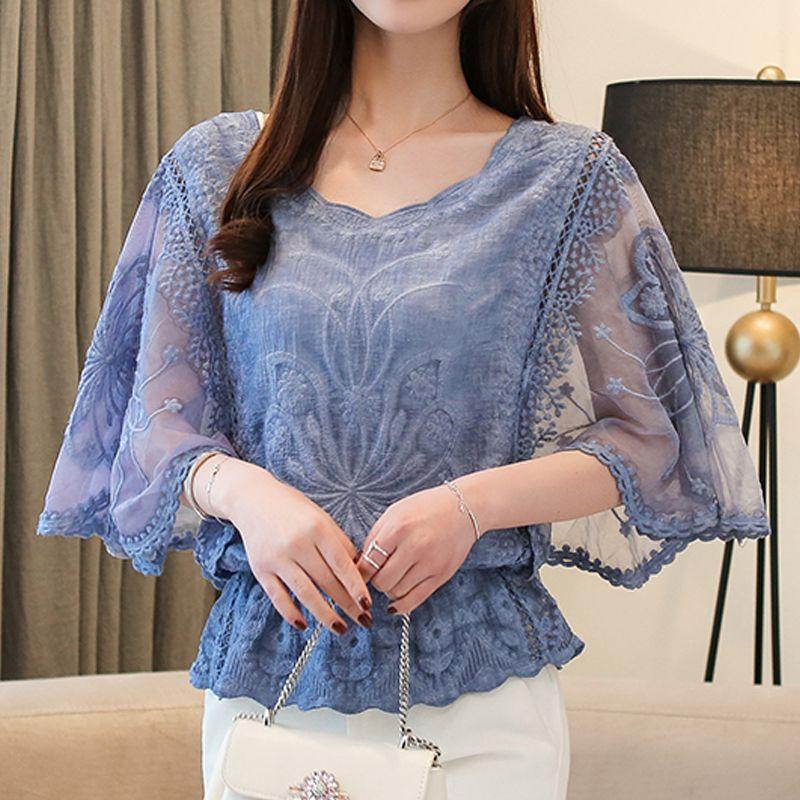 Nuova camicetta sciolta O-Collo Estate full cotone bordo di pizzo camicetta camicia fiore fiore mezzo manica camicia donna moda 210302
