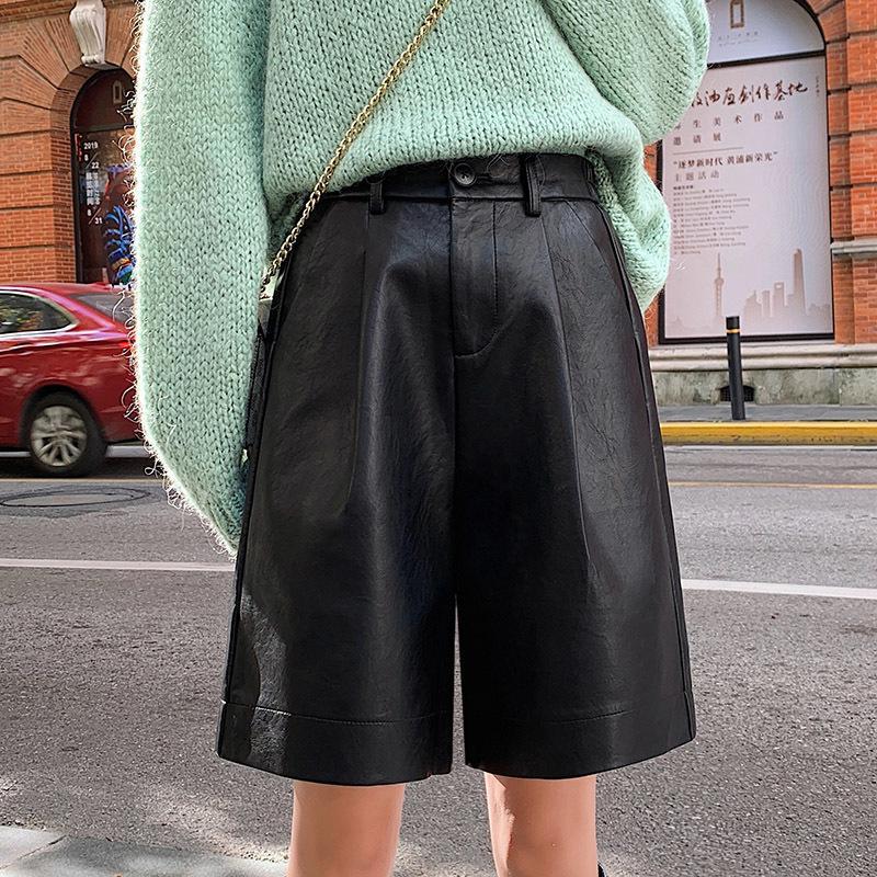 S-4XL Mode PU Cuir PU Cuir pour femmes Automne Hiver Bermuda Taille élastique Lâche Five Points Panneau en cuir Pantalon Plus Taille 210226
