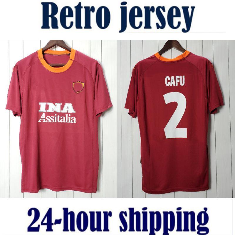 0001 روما 2000 2001 الرجعية camisetas دي fútbol المتحدة لكرة القدم جيرسي خمر كرة القدم قميص كلاسيكي camiseta
