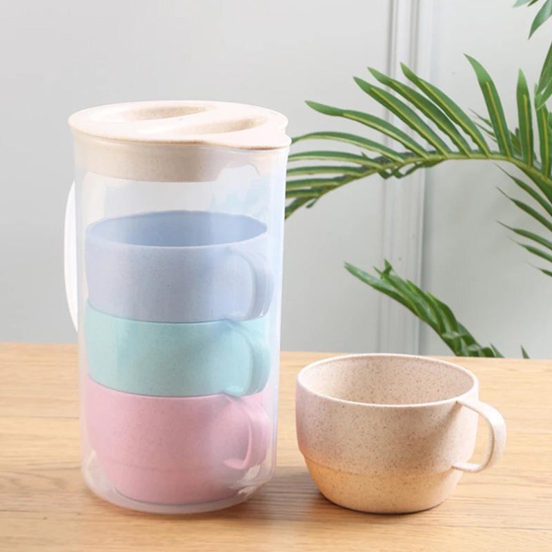 Kupalar 5 adet Renkli İçme Kupası Set Kullanımlık Çevre Dostu Plastik Biyobozunur Buğday Hasır Süt Çay Kettle Drinkware